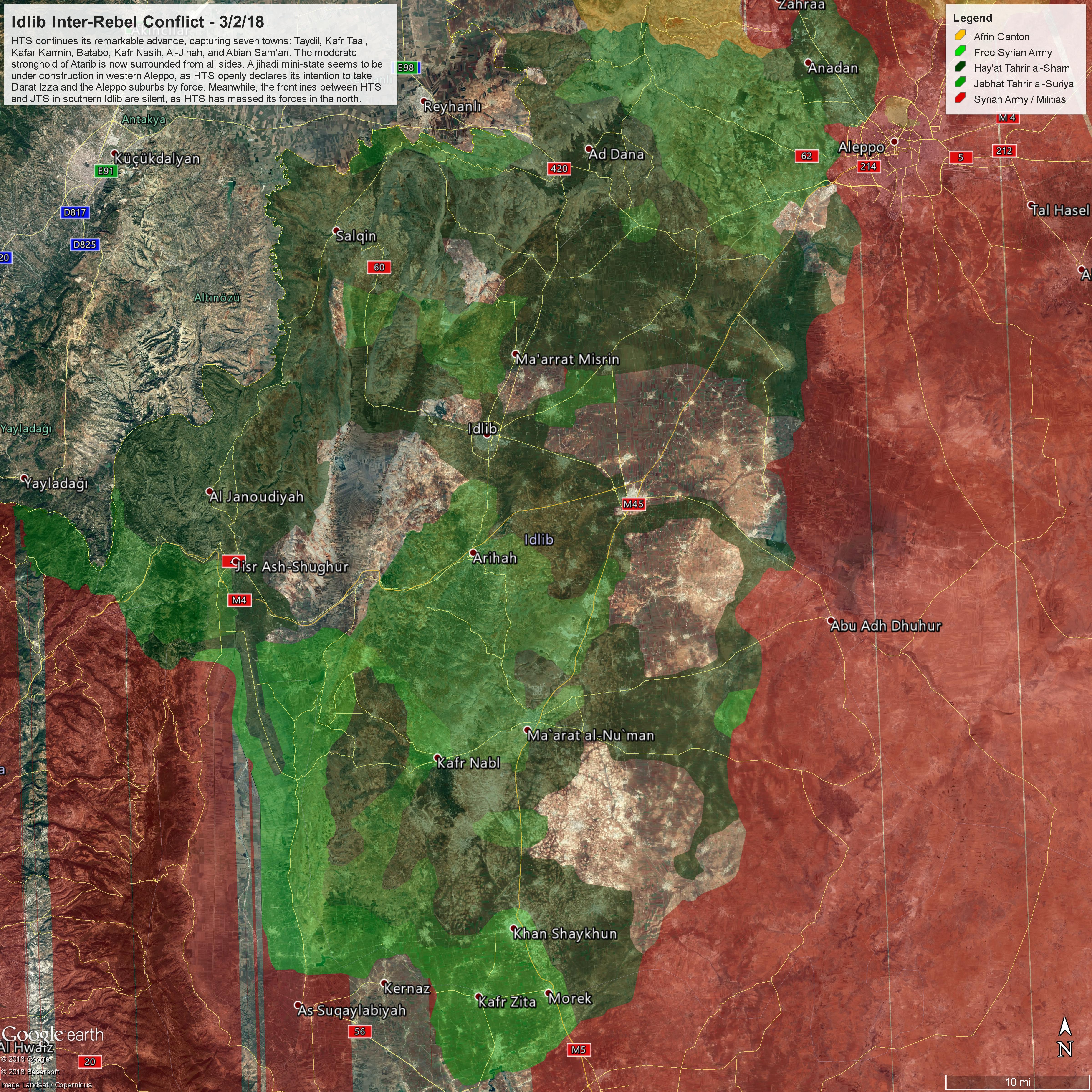 Mappa militare dello scontro tra HTS e JTS con gli utimi avanzamenti dei primi, aggiornata al 3/03/2018. Credits to: Peter Bucci (@Peter_Bucci).